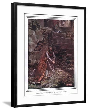 Christian and Hopeful in Doubting Castle-John Byam Liston Shaw-Framed Giclee Print