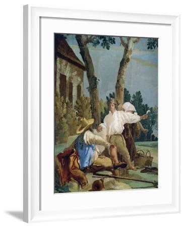 Peasants at Rest-Giandomenico Tiepolo-Framed Giclee Print