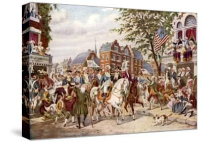 Washington's Entry into New York, 23 April 1789--Stretched Canvas Print