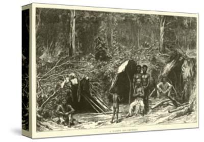 A Native Encampment--Stretched Canvas Print