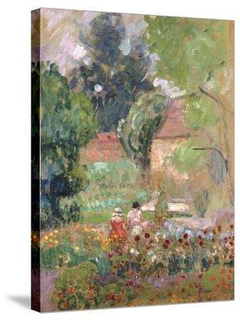 Marthe, Nono and Pierre in the Garden-Henri Lebasque-Stretched Canvas Print
