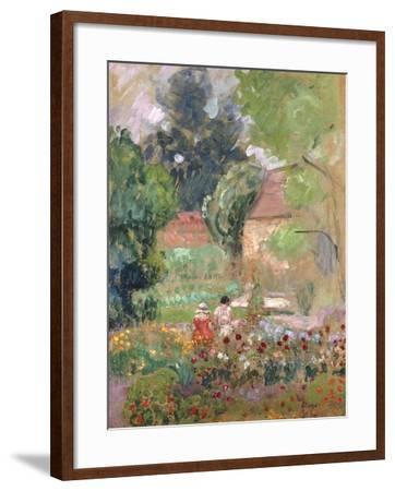 Marthe, Nono and Pierre in the Garden-Henri Lebasque-Framed Giclee Print