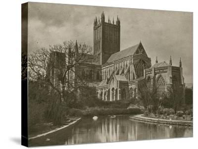 Wells Cathedral, from the Swan Pool--Stretched Canvas Print
