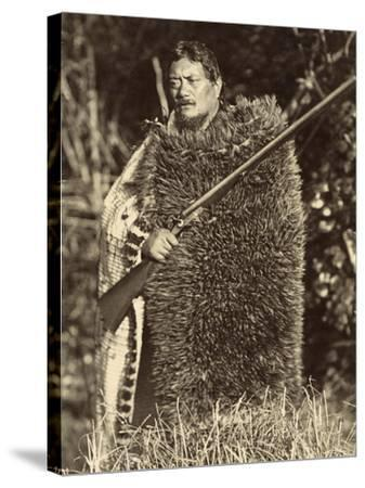 Man Wearing a Kiwi Feather Mat, C.1910--Stretched Canvas Print
