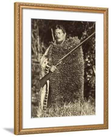 Man Wearing a Kiwi Feather Mat, C.1910--Framed Photographic Print
