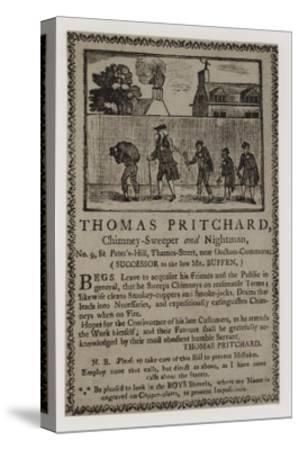 Chimney Sweeps, Thomas Pritchard, Trade Card--Stretched Canvas Print