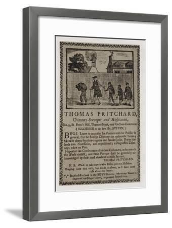 Chimney Sweeps, Thomas Pritchard, Trade Card--Framed Giclee Print