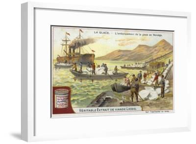 Loading Ice onto a Ship; Norway--Framed Giclee Print