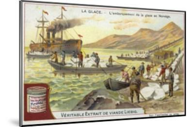 Loading Ice onto a Ship; Norway--Mounted Giclee Print