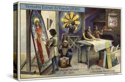 Stained Glass Manufacturing, 12th Century--Stretched Canvas Print