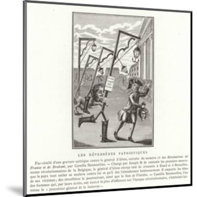 Patriotic Streetlamps--Mounted Giclee Print