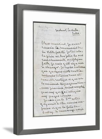 Handwritten Letter from George Sand--Framed Giclee Print