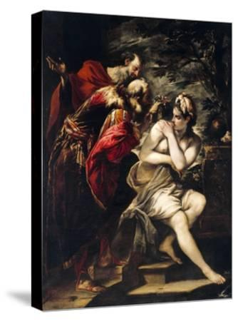 Susanna and Elders-Giovanni Antonio Burrini-Stretched Canvas Print