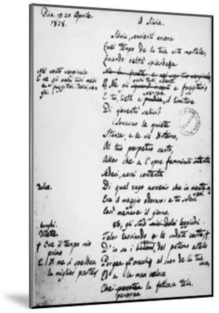 To Silvia-Giacomo Leopardi-Mounted Giclee Print