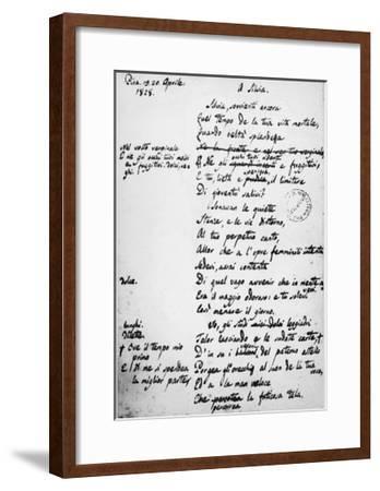 To Silvia-Giacomo Leopardi-Framed Giclee Print