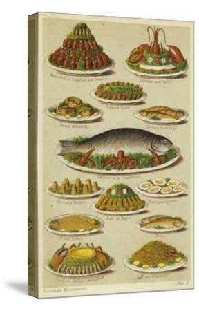Fish and Seafood Dishes--Stretched Canvas Print