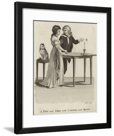 A Boy and a Girl with a Candle and a Moth--Framed Giclee Print