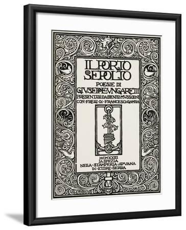 Cover of Buried Harbour-Giuseppe Ungaretti-Framed Giclee Print