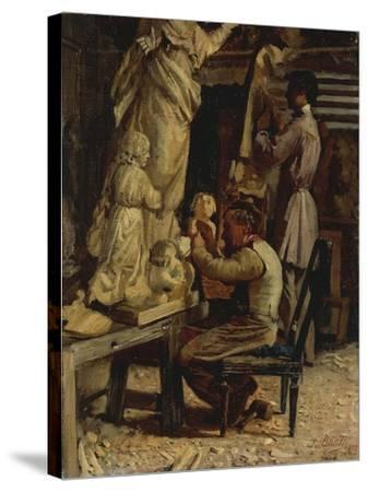 The Sculptor's Studio-Santo Bertelli-Stretched Canvas Print