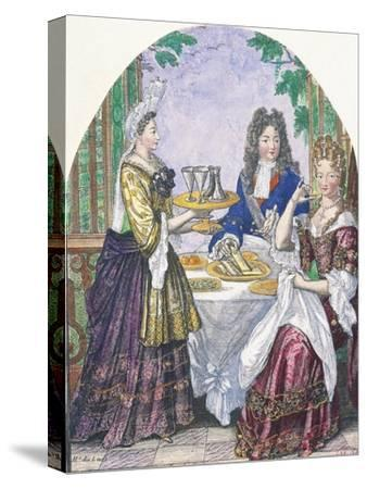 Marquise De Lude at Table-Nicolas Bonnart-Stretched Canvas Print