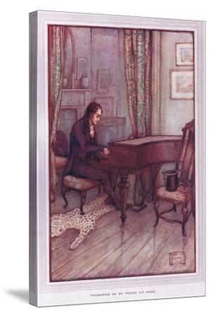 Thrumming on My Friend A's Piano-Sybil Tawse-Stretched Canvas Print