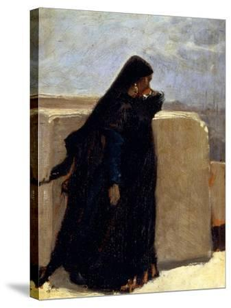 Woman Dressed in Black-Stefano Ussi-Stretched Canvas Print