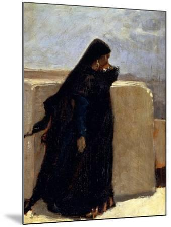Woman Dressed in Black-Stefano Ussi-Mounted Giclee Print