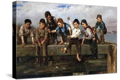 Boys Fishing, 1880-John George Brown-Stretched Canvas Print