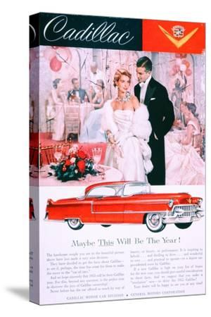 Advertisement for the 1955 Cadillac Car--Stretched Canvas Print