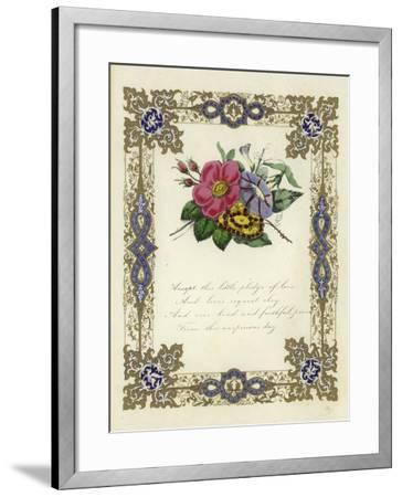 British Valentine Card with an Image of Flowers--Framed Giclee Print