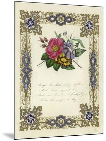 British Valentine Card with an Image of Flowers--Mounted Giclee Print