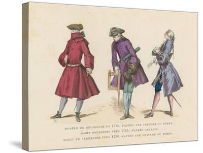 French Men's Fashions, 18th Century--Stretched Canvas Print