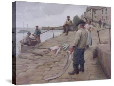 Mousehole Harbour, 1907-Harold Harvey-Stretched Canvas Print
