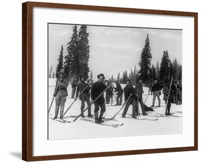 A Ski Brigade, C.1910-20--Framed Photographic Print