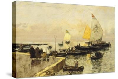 Coal Boats in Chioggia-Mose Bianchi-Stretched Canvas Print