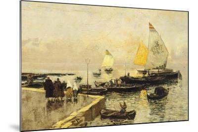 Coal Boats in Chioggia-Mose Bianchi-Mounted Giclee Print