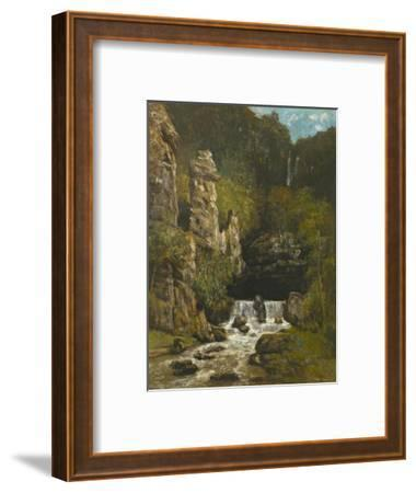 Landscape with a Waterfall, C.1865-Gustave Courbet-Framed Giclee Print