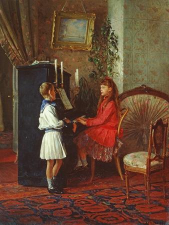Children at the Piano, 1886-Kirill Vikentevich Lemokh-Framed Giclee Print