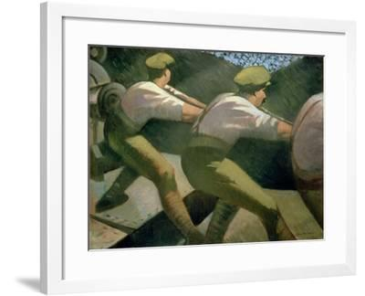 Loading a Gun in the Trenches, 1918-Christopher Richard Wynne Nevinson-Framed Giclee Print