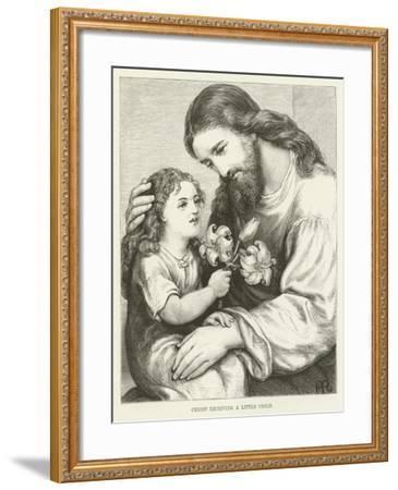 Christ Receiving a Child--Framed Giclee Print