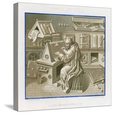 Jean Mielot in the Scriptorium--Stretched Canvas Print