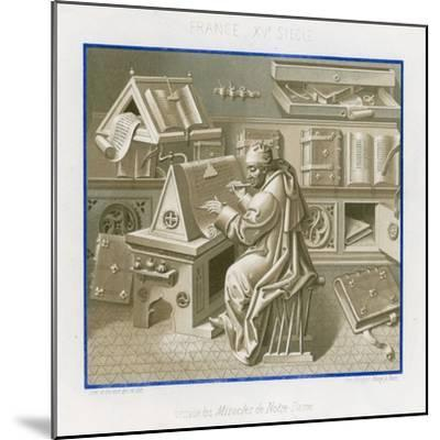 Jean Mielot in the Scriptorium--Mounted Giclee Print