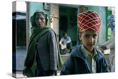 Kid with an Old Woman, Rajasthan, India--Stretched Canvas Print