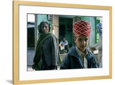 Kid with an Old Woman, Rajasthan, India--Framed Photographic Print