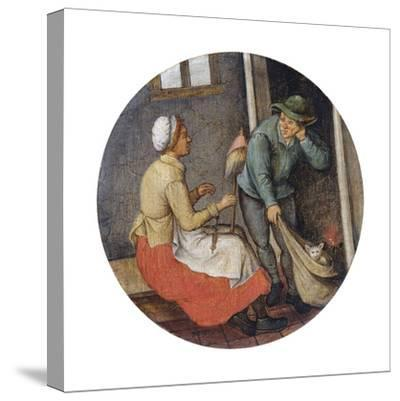 A Proverb - Letting the Cat Out of the Bag-Pieter Brueghel the Younger-Stretched Canvas Print