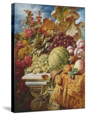 Still Life with Fruit-George Lance-Stretched Canvas Print