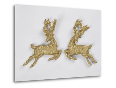 Golden Reindeers--Metal Print