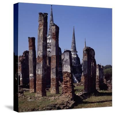 Ruins of the Royal Palace of Ayutthaya--Stretched Canvas Print