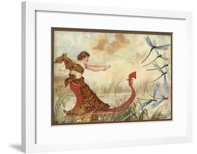 Girl Being Pulled Through the Water by May Flies--Framed Giclee Print