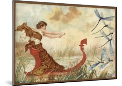 Girl Being Pulled Through the Water by May Flies--Mounted Giclee Print
